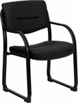 Black leather reception chair with open back and black frame