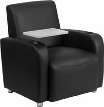 Black leather guest chair with high armrests and gray tablet arm