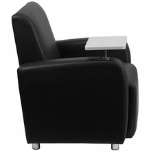 Black leather chair for office or home use with tablet art and cupholder armrest