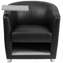Black leather reception chair with tablet arm and storage underneath