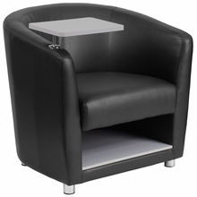 Black leather chair with barrel back adjustable tablet arm and additional storage space