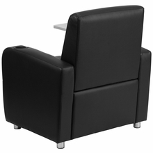 Black leather chair with high armrests a tablet arm and cupholder
