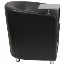 Barrel back black leather chair with adjustable tablet arm and storage space