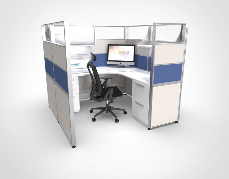 6x6 Blue Sliding Cubicle | Workstation
