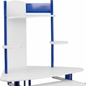 blue framed computer desk with white top and hutch