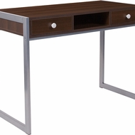 Dark brown wooden desk with powder gray frame and handle pulls
