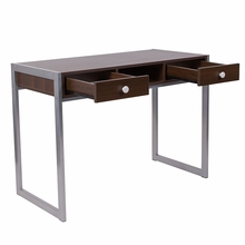 Dark wooden desk with simple gray frame two drawers and open storage space