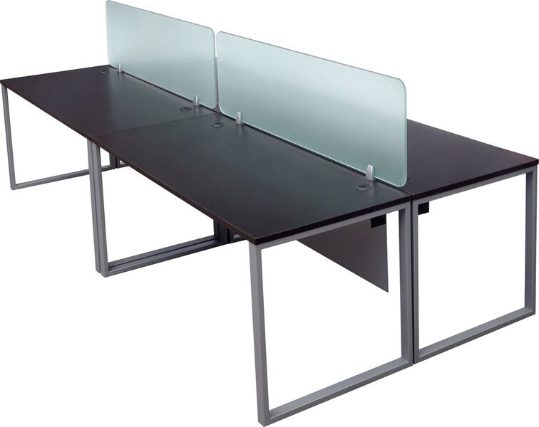 Modular office desk with frosted glass divider panels