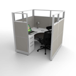 Affordable New Cubicle with Grey Fabric and Glass Panels