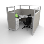 6x6 Cubicle with Light Grey & Glass panels
