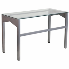 Clear glass surfaced desk with support brace