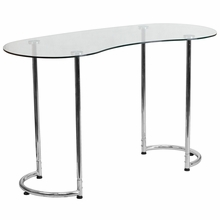 Curved clear glass desk with rounded bottom legs