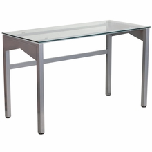 Glass surfaced computer desk with silver frame