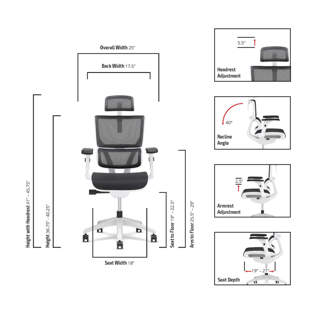 Spec sheet of the X5 Vision Small MGMT office task chair
