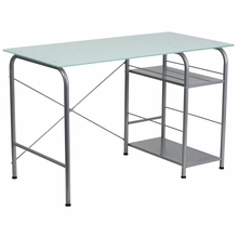 white rectangle glasstop computer desk with 2 bottom shelves and metal legs