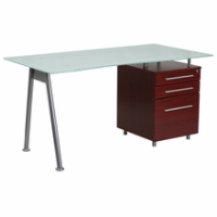 Rectangular frosted glass desk with dark wooden file pedestal and silver frame