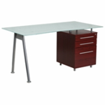 Office desk with frosted glass top and dark wooden file pedestal and silver frame