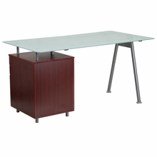 Small glass desk for business or home office