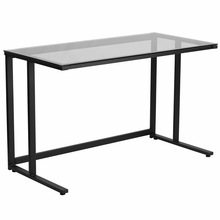 Black framed desk with clear glass surfacing
