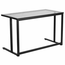 Glass surfaced desk with black powder frame