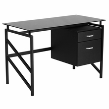 Black tempered glass surfaced desk with pedestal storage