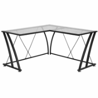 L-shaped desk with clear glass surface and criss cross frame detailing
