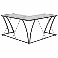 L shaped glass surfaced desk with black frame and criss cross frame detailing