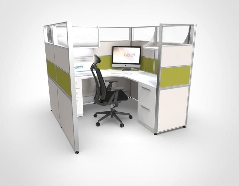 6x6 Green Sliding Cubicle | Workstation