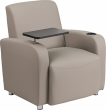 Gray leather guest chair with high armrests and black tablet arm
