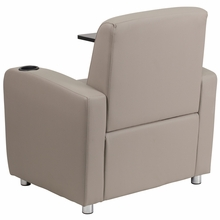 Gray leather chair with tablet arm chrome legs and cupholder armrest
