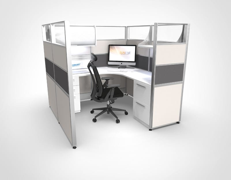 6x6 Grey Sliding Cubicle | Workstation