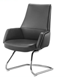 High back side chair with metal legs and armrests