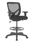 Black mesh drafting stool with arms, wheels and back on sale discount