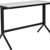Rectangular glass desk with clear glass surface black frame and no storage space