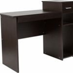 Dark wooden rectangular desk with sliding keyboard tray and raised open storage pedestal