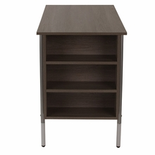 Applewood laminate desk with silver frame
