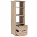 light oak wood tall office book shelf with 2  bottom drawers