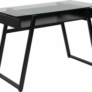 Black computer desk with clear glass surface and open storage