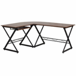 Dark wooden L shaped desk with sliding keyboard tray floor glides and black frame