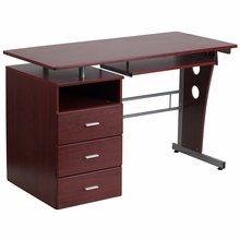 Rectangular wooden desk with sliding keyboard tray and three drawer storage pedestal