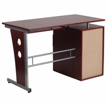 Tiered desk with open storage and keyboard tray