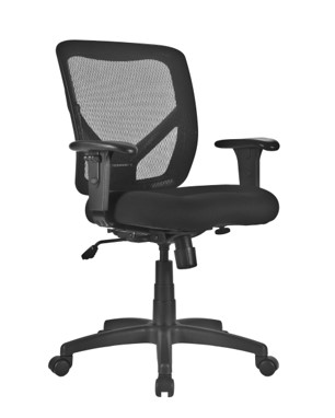 Black mesh office chair padded seat with wheels and arms
