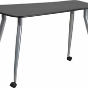 black laminate computer desk with wheels