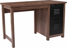 Rectangular wood desk with laminate finish and box strorage pedestal