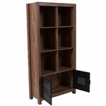 tall dark oak home office cabinet with 6  shelves, bottom shelf with  metal door