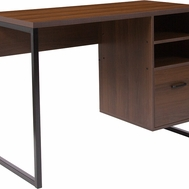 Wood grain finish desk with open storage