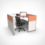Sliding Cubicle System - Orange