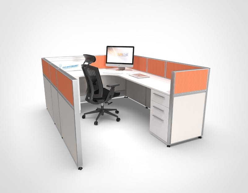 Orange Accent on New Office Workstation