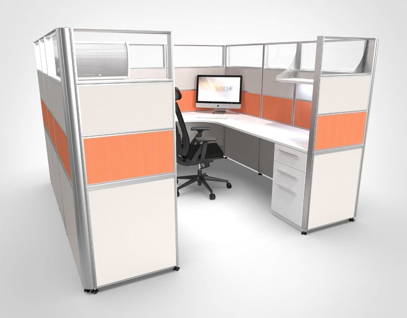 "65"" High Cubicle with Glass"