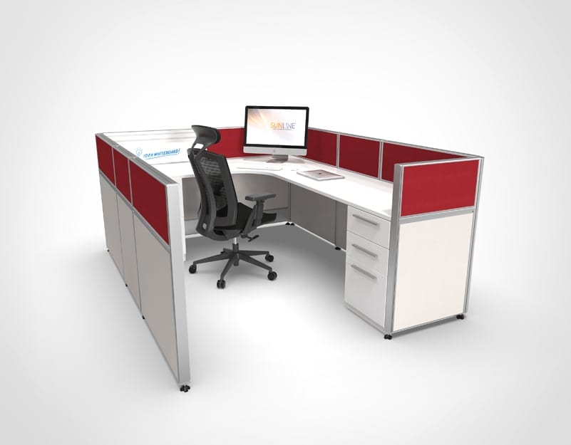 Office Cubicle with Red and Grey Panels